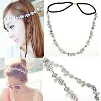 Wholesale Wholesale Silver Metal Headbands - 5pcs Women Fashion Metal Rhinestone Head Chain Jewelry Headband Head Piece Hair Band Free Ship [JH01037*5]