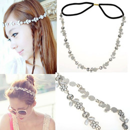 Wholesale Wholesale Silver Metal Headbands - 5pcs Women Fashion Metal Rhinestone Head Chain Jewelry Headband Head Piece Hair Band Free Ship [JH01037*5]