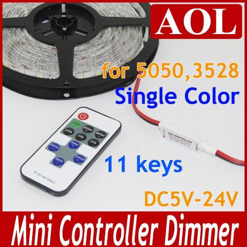 LED Strips Single Color Mini RF LED Remote Controller Wireless Dimmer 11 keys 5-24V for 3528 5050 LED strip light 10pcs