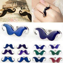 Wholesale Alloy Moustache - Brand New Wholesale Bulk 36X Mood Change Color Adjustable Moustache Rings Jewelry Unisex Fashion Jewelry [JR17012*36]