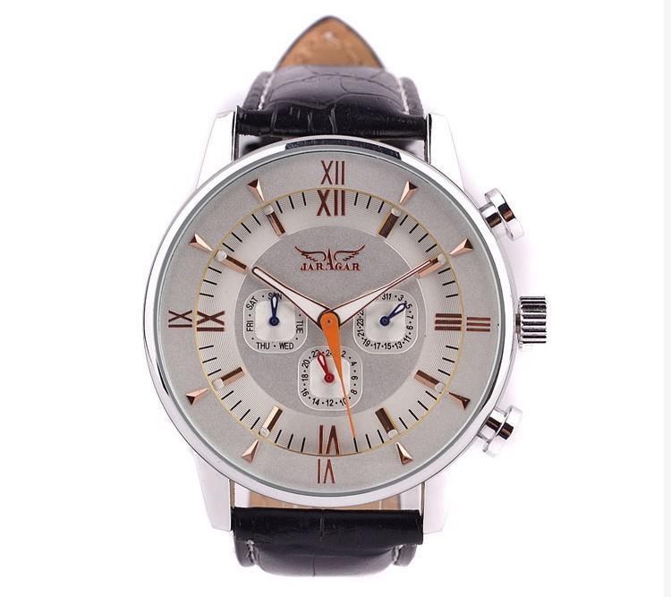 Neueste Jaragar berühmte Marke Männer automatische Uhr Datum Woche Mondphase, echtes Leder Band Valentinstag Geschenk frei Schiff