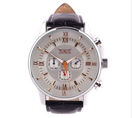 Chinese  Newest Jaragar famous brand men's automatic watch date week moon phase,genuine Leather band Valentine's Day gift free ship manufacturers