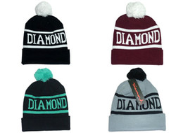 Wholesale Diamond Beanies Winter Cap - Diamond Supply Co. World Beanie With pom pom Beanies Hip Hop Snapback Hats Custom Knitted Cap Snapbacks Popular hat cap Mix Order Free Ship
