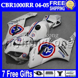 Discount repsol fairings - 7gifts+Cowl For HONDA 04 05 CBR1000RR Repsol White 04-05 CBR1000 RR MH7946 100% Injection Mold CBR 1000 Red Blue R 1000R