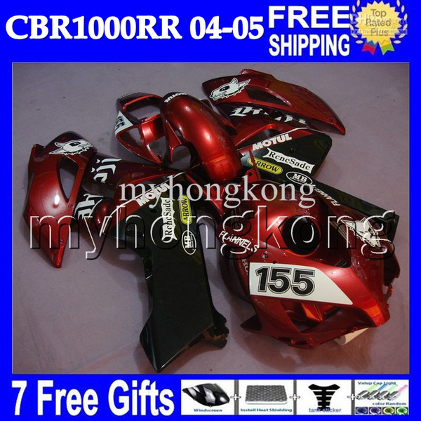 7gifts+Cowl For HONDA Dark red 04 05 CBR1000RR 100% Injection Mold MH7924 CBR1000 RR 2004 2005 red not orange CBR 1000 1000RR Full Fairing