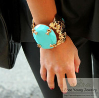 Wholesale Anna Russo - Korean version popular vintage Anna Dello Russo star turquoise jewelry wholesale European and American fashion bangle bracelet