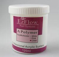 Wholesale Ezflow Clear - 120g Ezflow Acrylic Powder Clear Color 100% High Quality For Crystal Salon Nails Desgin & Fashion Beauty Product Wholesale 604