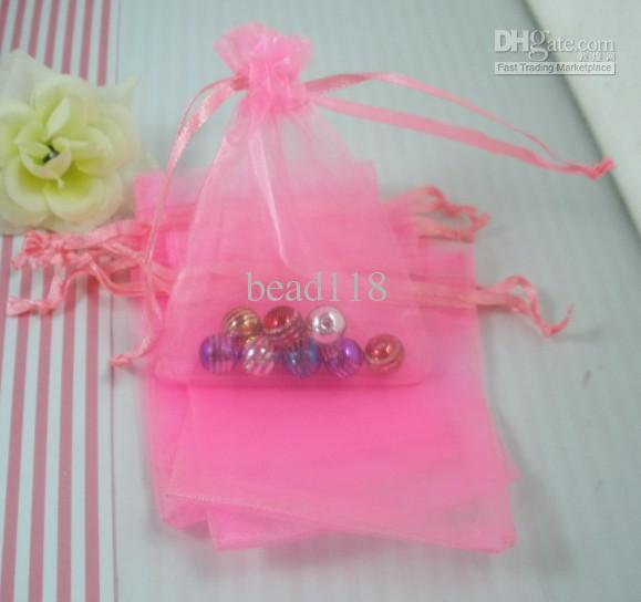 Försäljning / 1 Rosa Transparent Organza Presentväska Jul- / bröllopsgåvor 7x9cm 003579
