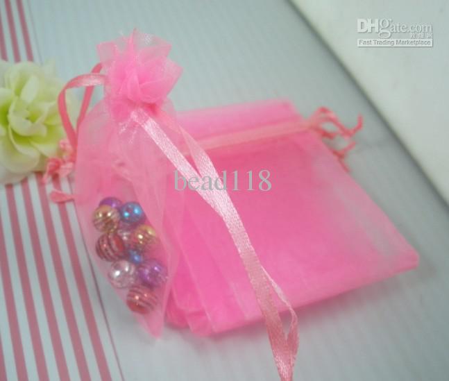 Sales / 1 Pink Transparent Organza Gift Bag Christmas / Wedding Gift Bag 7X9cm 003579