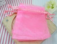 ingrosso sacchetti di rosa trasparenti-Vendita 100Pcs / 1 Lot Sacchetto regalo rosa organza trasparente Sacchetto regalo natale / matrimonio 7X9cm (003579)