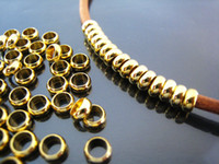 Finding - 300 pcs Gold Round Small Daisy Spacers Beads with Large Hole (5mm x 2mm)