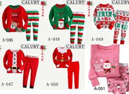Wholesale girl s boys long sleeve cotton santa pyjamas children christmas sleepwear kids garments sets models