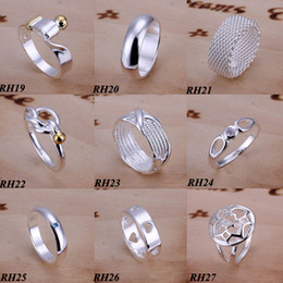 Wholesale Vogue Mix - 50Pcs lot Fashion Rings Jewelry 925 Sterling Silver Mix Styles Vintage Fashion Vogue Rings Nice Gift Size 7,8,9