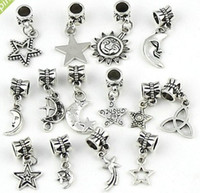 Wholesale Round Hot Plate - Mixed Star Moon Sun Charm Beads 280pcs lot Tibetan Silver Dangle Fit European Bracelets DIY Hot sell