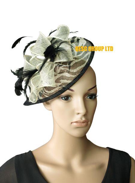 HOT sinamay fascinator Hut in der speziellen Form mit Feder für Kentucky Derby / Hochzeit / Kirche, 8 Farbe