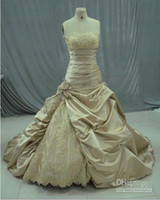 Wholesale Dipped Dresses - Hot Selling Sexy Strapless Satin Full bustled with dipped neckline Ball Gown wedding dresses