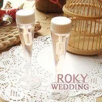 Wholesale Soap Water Bubble Bottle - Free Shipping!24pcs lot! Champagne Glass Wedding Bubble Bottle Favors soap water bottle for weddings and party baby shower favors