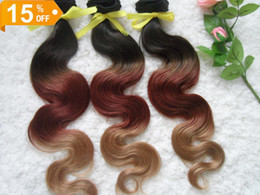 "Wholesale Virgin Indian Hair 1b 33 - DHL free shipping 10-32"" malaysian ombre color #1b 33 27 virgin human hair body wave hair weft 100g pc 3pcs lot"