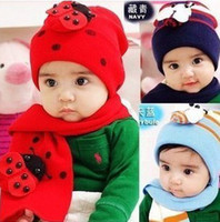 Wholesale Baby X Piece Set - Wholesale - Free Shipping 5 Pieces Lot High Quality NEW Design Baby Red Hat+Sarf Set,Santa christmas x