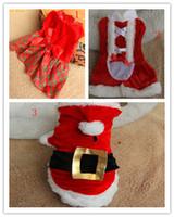 Wholesale Santa Christmas Pet Costumes Wholesale - Free shipping New design Christmas XMAS dog clothing cute Girl santa dress pet cloth 3styles 20pcs lot