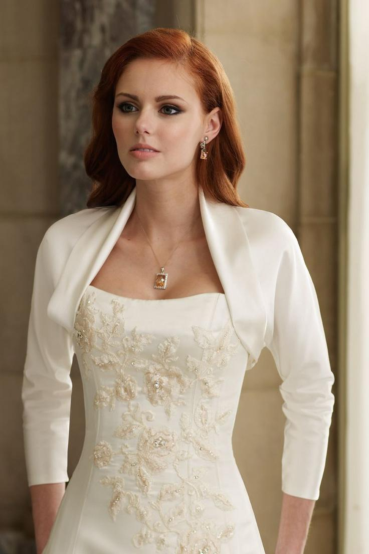 Skräddarsydda klassiska satinbröllopjackor med 3/4 ärm varm försäljning brudklänning shrug / sjal / wraps