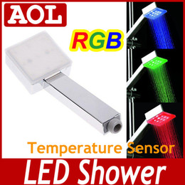 Wholesale Color Changing Faucet Light - No need battery Colorful LED Shower Head Sprinkler Temperature Sensor 3 Color & 7 color changing bateroom led lighting faucet AS1305