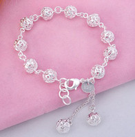 Wholesale Wholesale Chain Buy - New Korean female models 925 sterling silver bracelet wholesale Hollow Beads Bracelet Wristband white copper silver plated silver to buy (10