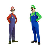 Wholesale Mario Costumes For Men - Two Colors Super Mario cosplay costumes big size for adult suit for 165-175cm height Halloween,Christmas costumes