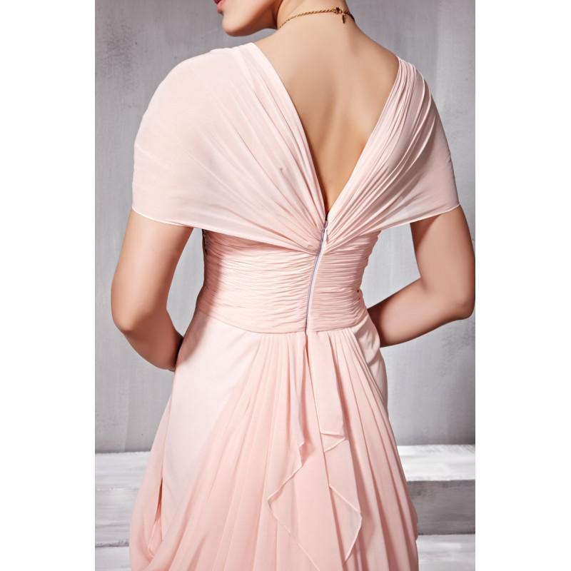 送料無料ライン恋人の床の長さのピンクのシフォン半袖イブニングドレスビーズプリーツ控えめなウエディングドレスセクシーなイブニングガウン