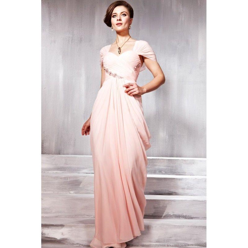 Versandkostenfrei eine linie schatz bodenlangen rosa chiffon kurzarm abendkleider perlen plissiert bescheidenen abendkleider sexy abendkleider