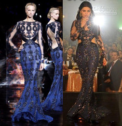 zuhair murad dress blue Canada - blue evening dress Lace zuhair murad long sleeves evening dress Mermaid Pageant Gown with High Neckline Haifa Wehbe
