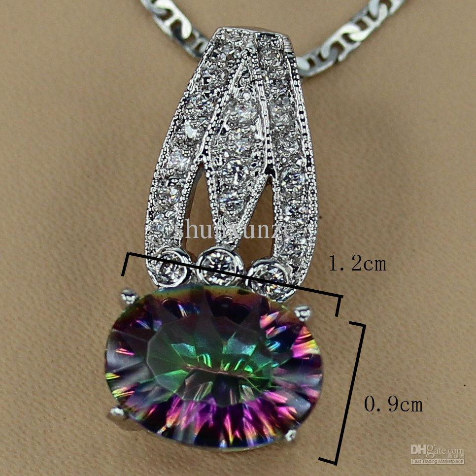 Rainbow Mystic stone Fashion jewelry Romantic Silver Plated Pendants R3304 Recommend Promotion Favourite Best Sellers Time limited discount
