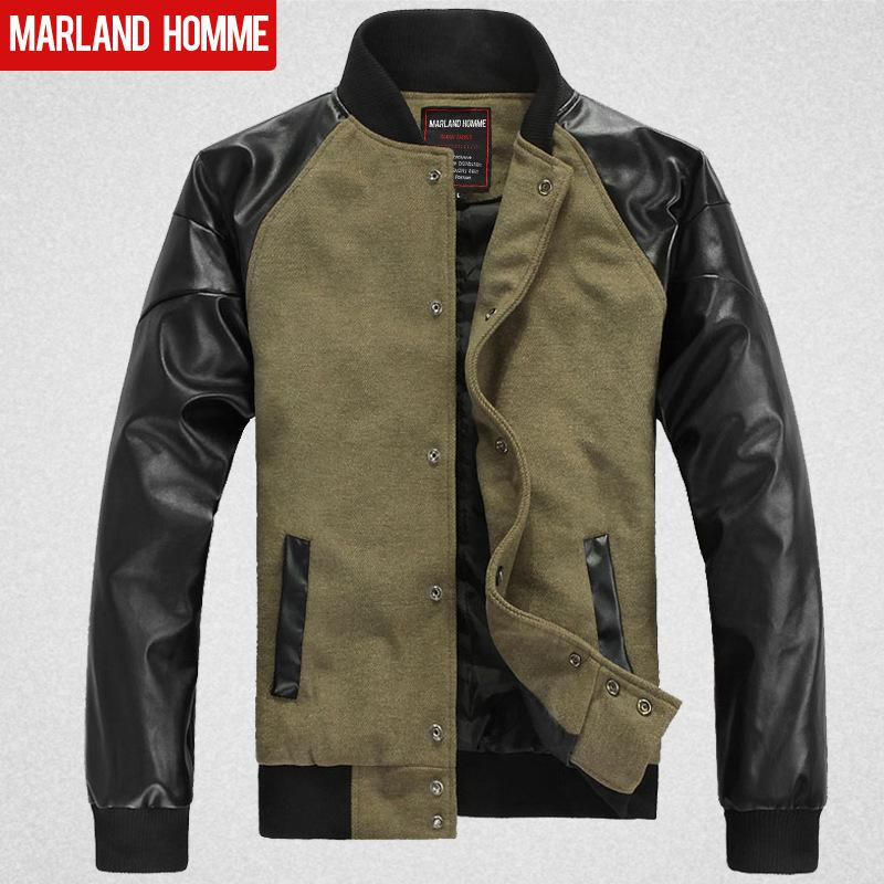 Black Army Green Men'S Woolen Locomotive Leather Jacket Coat Men ...