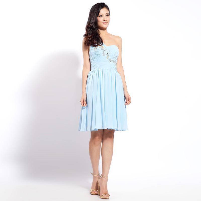 Adelige Schulterhimmel Blau Rüschen Chiffon Knielangen Brautjungfernkleider Prom Party Kleider