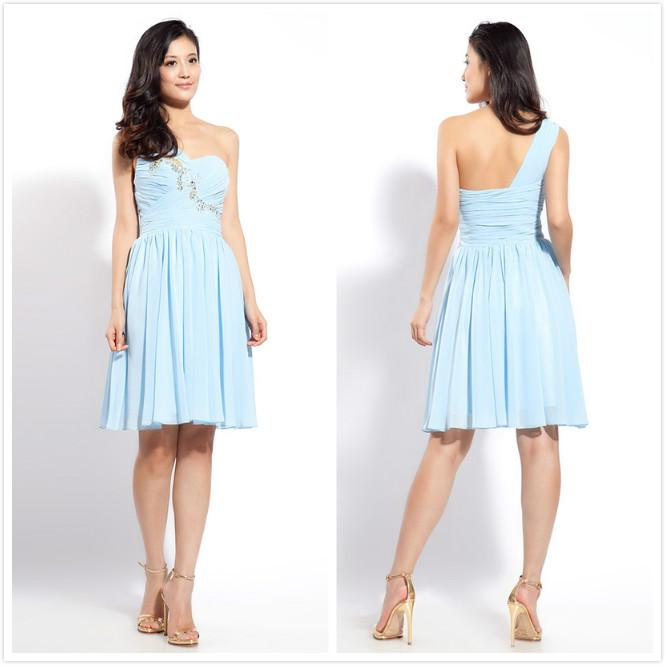 Noble One Shoulder Sky Blue Ruffles Chiffon Knee-Length Bridesmaid Dresses Prom Party Gowns