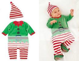 Wholesale green santa - Wholesale - New arrival children christmas clothing Christmas Costume Santa Baby romper+cap 2pcs set Santa Claus chothes erbaby