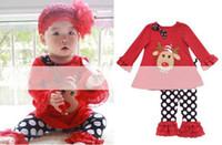 Wholesale christmas leggings wholesale - Wholesale -Children's Clothing Christmas girls set shirt top + leggings 2 pcs clothing outfit suit set