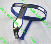 Wholesale Male Chastity Photos - Bdsm fatory 3 color can select Female Adjustable Model-T Stainless Steel Premium Chastity Belt with One Locking Cover bule color see photo
