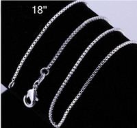 Wholesale Wholesale Sterling Silver Chains Bulk - Wholesale - 925 sterling silver Box chain vintage necklace hot sale 1.2MM 18 inch bulk 30pcs lot