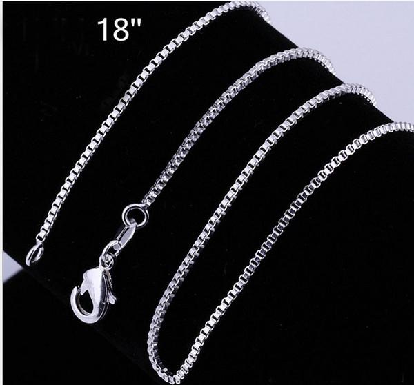 Al por mayor - 925 Sterling silver Box cadena de la vendimia collar de venta caliente 1.2MM 18 pulgadas a granel 30pcs / lot