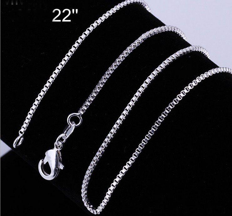 Al por mayor - 925 Sterling silver Box cadena de la vendimia collar de venta caliente 1.2MM 18 pulgadas a granel /