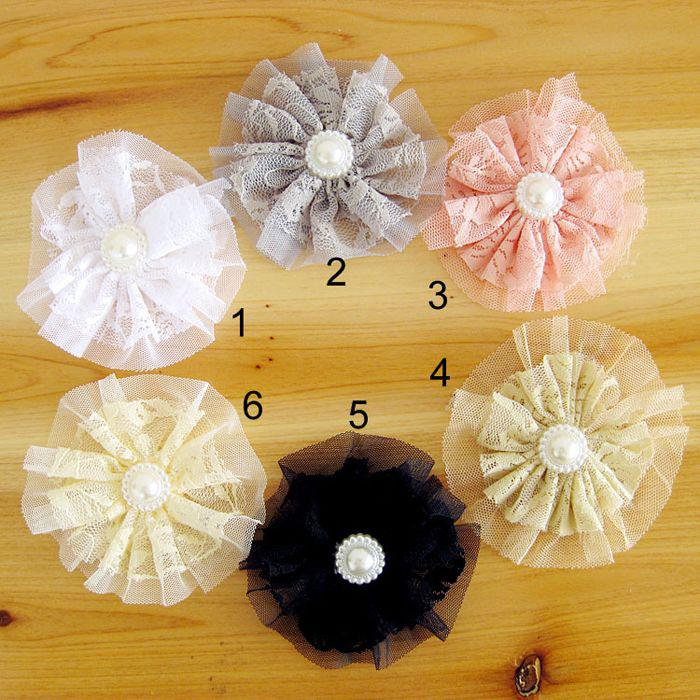 Pearl Double Lace Flower DIY accessories Flowers For Baby Headbands Girls Corsage Flower Hair Accessories DIY Photography props 30pcs Hot