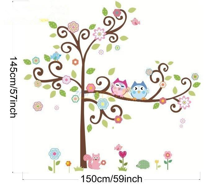 150*145cm Cute Owl Tree Peel U0026 Stick Wall Decal Kindergarten DIY Art Vinyl  Wall Stickers Decor Mural Cartoon Mural Sticker Wall Decal Part 87