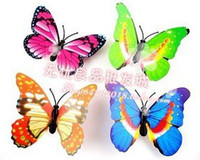 Wholesale butterfly fridge magnets - Wholesale - 100 Pcs Small Size Colorful Three-dimensional Simulation Butterfly Magnet Fridge Home Decoration
