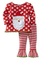 Wholesale Stripes Long Sleeves Outfits - Wholesale - Girls Christmas 2 pcs outfit set SANTA Long Sleeve polka t shirt + ruffle stripe Leggings tights pants suit trousers