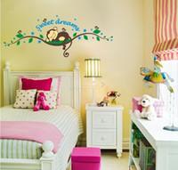 stickers muraux enfants achat en gros de-Stickers Arbre Singe pour Enfants Enfants Chambre Sweet Home Wall Sticker Singe Mur Art Garçons Filles Stickers Muraux