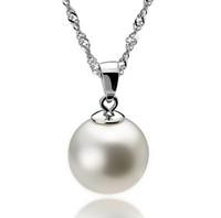 collar de perlas colgante de plata al por mayor-Colgante largo de perlas 925 Collar de plata esterlina Perla de lujo de las mujeres de moda collar bohemio colgante 10 cm bola joyería de las señoras 10pcs / lot
