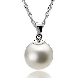Wholesale Stainless Ball Chains - Long Pearl Pendant 925 Sterling Silver Necklace Luxury Pearl Fashion Women Bohemian Necklace Pendant 10cm Ball Ladies Jewelry 10pcs lot