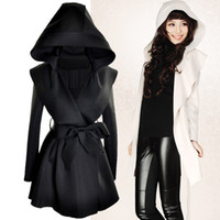 Women black surcoat - 2013 Autumn and winter dust coat suit dress frock western handsome Hooded trench coat crimp long wind coat surcoat Custom Fit