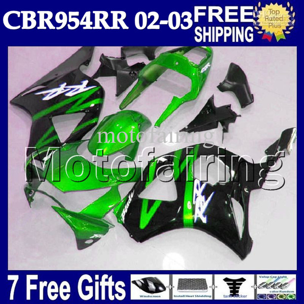 7gifts For 02-03 HONDA NEW CBR954RR CBR900RR 954 954RR 2002 2003 MF6780 CBR 900RR Light green black 02 03 CBR954 RR Free Customized Fairings